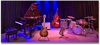 jazz ensemble: piano, drums, guitar, bass and tenor sax