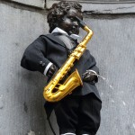 Manneken-Pis dressed up for Adolphe Sax's 200th anniversary